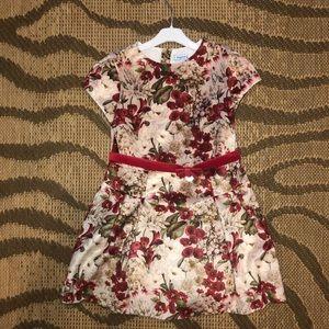 Girls Floral Velvet Dress
